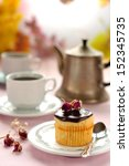 boston cream pie cupcake filled ... | Shutterstock . vector #152345735