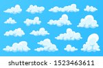 clouds set isolated on a blue... | Shutterstock .eps vector #1523463611