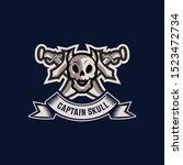 skull vintage vector logo... | Shutterstock .eps vector #1523472734