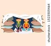children made a pillow and a...   Shutterstock .eps vector #1523505464