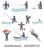 fishing symbols. set icons for...