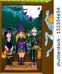 halloween night background with ... | Shutterstock . vector #152354654