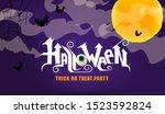 happy halloween hand lettering... | Shutterstock .eps vector #1523592824
