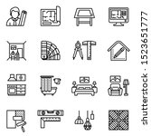 interior design icon set with... | Shutterstock .eps vector #1523651777