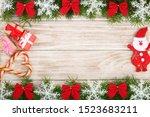 christmas frame made of fir... | Shutterstock . vector #1523683211