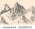 rocky mountains peaks  fog... | Shutterstock .eps vector #1523695211