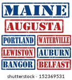 Set of Maine cities stamps on white background, vector illustration - stock vector