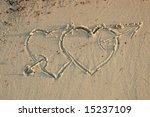 two hearts in a sand | Shutterstock . vector #15237109