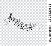 music notes wavy design ... | Shutterstock .eps vector #1523820611
