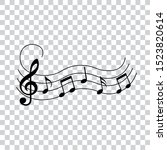 music notes wave with swirl ... | Shutterstock .eps vector #1523820614