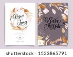autumn and fall flower wedding... | Shutterstock .eps vector #1523865791