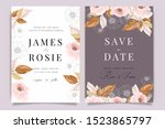 autumn and fall flower wedding... | Shutterstock .eps vector #1523865797