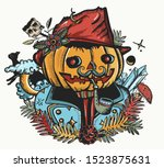 scary portrait jack o' lantern... | Shutterstock .eps vector #1523875631