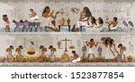 ancient egypt frescoes.... | Shutterstock .eps vector #1523877854