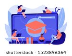 students with laptops studying... | Shutterstock .eps vector #1523896364