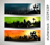 Stock vector set of three halloween banners 152391389