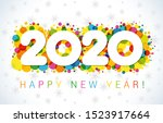 2020 a happy new year greeting... | Shutterstock .eps vector #1523917664