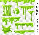 realistic green slime. slimy... | Shutterstock .eps vector #1523928914