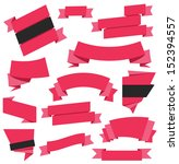 vector ribbons set red