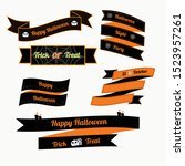 halloween ribbon vector design... | Shutterstock .eps vector #1523957261