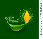 happy green diwali celebration... | Shutterstock .eps vector #1523981594