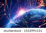 Big Data Concept. Global Cyberspace. 3D illustration of wireless internet technologies. Database protection and blockchain network. Elements of this image are furnished by NASA - stock photo