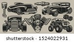 set of vector classic cars and... | Shutterstock .eps vector #1524022931