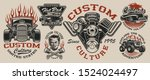 Set Of Vintage Hot Rod Designs  ...