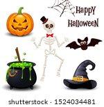 happy halloween icons set... | Shutterstock .eps vector #1524034481