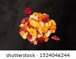 dry fruit and vegetable chips ... | Shutterstock . vector #1524046244