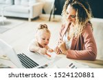 business mom working at laptop...   Shutterstock . vector #1524120881