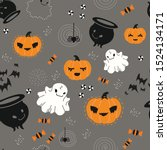 seamless pattern for halloween... | Shutterstock .eps vector #1524134171