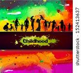 children on the background of... | Shutterstock .eps vector #152413637