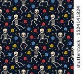 skeletons and roses seamless...   Shutterstock .eps vector #1524141824