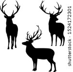 Deer Silhouettes On White...