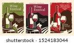 set banner vintage wine italian  | Shutterstock .eps vector #1524183044