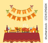 thanksgiving greeting card. a... | Shutterstock .eps vector #1524190604