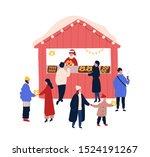 christmas fair stall flat... | Shutterstock .eps vector #1524191267