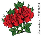 rose vector flower red cartoon... | Shutterstock .eps vector #1524228014