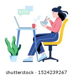 woman having lunch at work.... | Shutterstock .eps vector #1524239267
