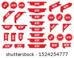 set of new labels in red... | Shutterstock .eps vector #1524254777