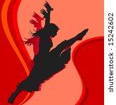 dancing girl  silhouette girl... | Shutterstock .eps vector #15242602
