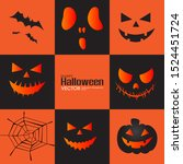 halloween ghost  funny faces... | Shutterstock .eps vector #1524451724