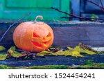 Halloween Pumpkin On A Porch....