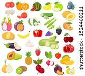 vector fruits and vegetables... | Shutterstock .eps vector #1524460211