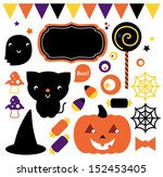 halloween party set isolated on ... | Shutterstock .eps vector #152453405