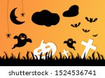 halloween card composition with ... | Shutterstock . vector #1524536741