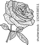 beautiful sketch of a rose... | Shutterstock .eps vector #1524538511