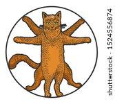 Vitruvian Cat Sketch Engraving...