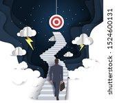 businessman walking up stairway ... | Shutterstock .eps vector #1524600131